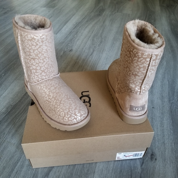 UGG Classic Short Snow Leopard Suede Boot.